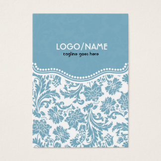 Pastel Blu& White Vintage Floral Damask-Customized Business Card