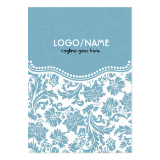 Pastel Blu& White Vintage Floral Damask-Customized Large Business Card