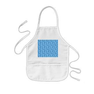 Pastel blue anchor pattern kids' apron