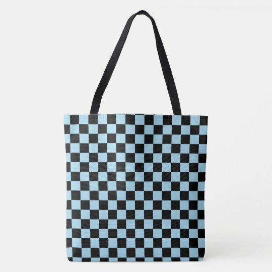 b9e2112a2aa0 Pastel Blue And Black Checkered Pattern Tote Bag