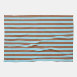 Pastel Blue and Brown Stripes Kitchen Towel