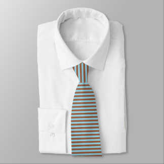 Pastel Blue and Brown Stripes Tie