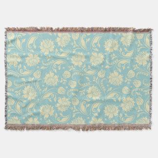Pastel Blue And Cream Vintage Floral Damasks 3 Throw