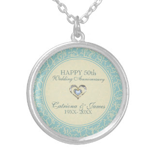 Pastel Blue And Creme Floral Damasks Silver Plated Necklace