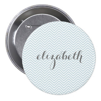Pastel Blue and Gray Chevrons Custom Name 3 Inch Round Button