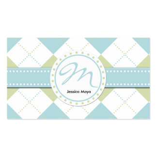 Pastel Blue and Green Checker Patterns Double-Sided Standard Business Cards (Pack Of 100)