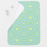 Pastel Blue and Green Diamond Pattern Baby Blanket