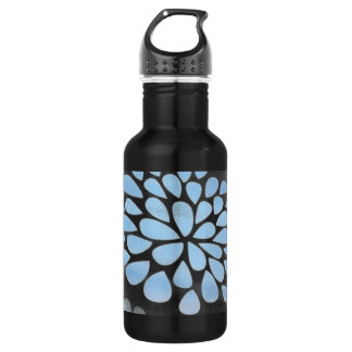 Pastel Blue and Lime Flower Petal Pattern on Black 18oz Water Bottle