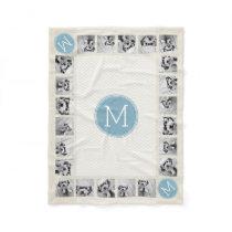 Pastel Blue and Linen Chevrons Custom Monograms Fleece Blanket