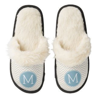 Pastel Blue and Linen Chevrons Custom Monograms Pair Of Fuzzy Slippers