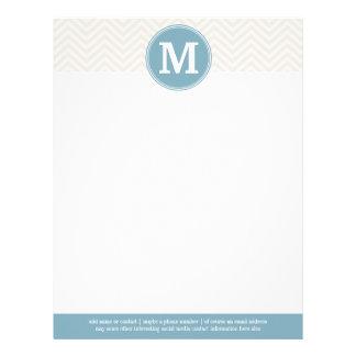 Pastel Blue and Linen Chevrons Custom Monograms Letterhead Template