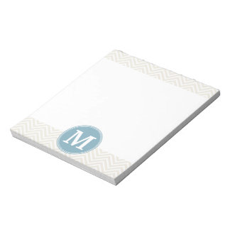 Pastel Blue and Linen Chevrons Custom Monograms Notepad