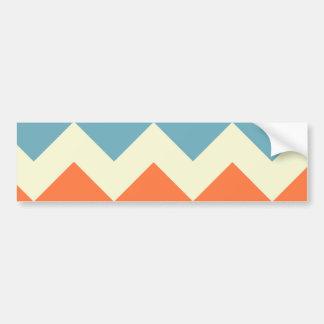 Pastel Blue and Orange Chevron Stripes Bumper Sticker