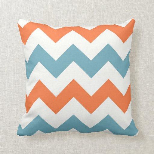 Pastel Blue and Orange Chevron Stripes Pillow