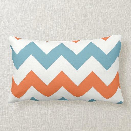 Pastel Blue and Orange Chevron Stripes Throw Pillow