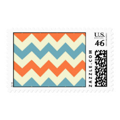 Pastel Blue and Orange Chevron Stripes Postage Stamps