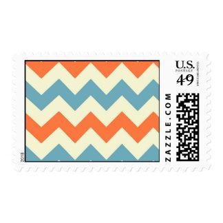 Pastel Blue and Orange Chevron Stripes Postage Stamps