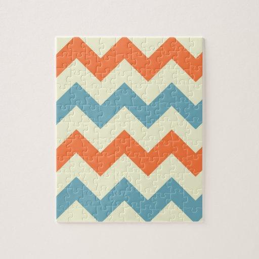 Pastel Blue and Orange Chevron Stripes Puzzles