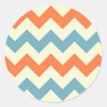Pastel Blue and Orange Chevron Stripes Round Sticker