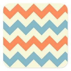 Pastel Blue and Orange Chevron Stripes Square Sticker