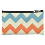 Pastel Blue and Orange Chevron Stripes Zig Zags Cosmetic Bag