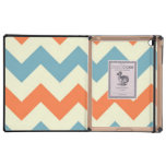 Pastel Blue and Orange Chevron Stripes Zig Zags Case For iPad
