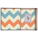 Pastel Blue and Orange Chevron Stripes Zig Zags Case For iPad