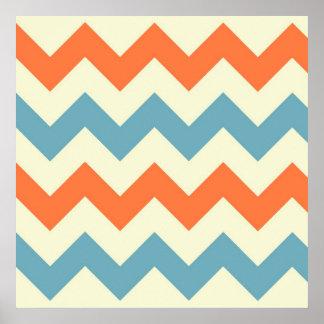 Pastel Blue and Orange Chevron Stripes Zig Zags Print