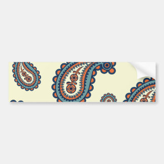 Pastel Blue and Orange Paisley Pattern Car Bumper Sticker