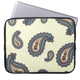 Pastel Blue and Orange Paisley Pattern Computer Sleeve