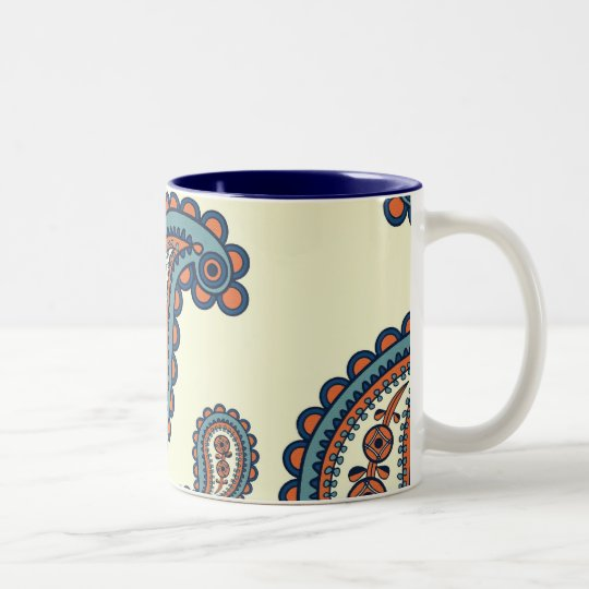 Pastel Blue and Orange Paisley Pattern Two-Tone Coffee Mug