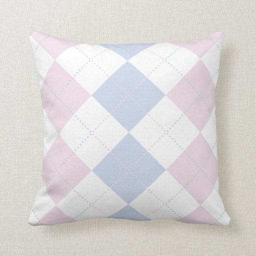 Pastel Blue and Pink Checker Patterns Pillows