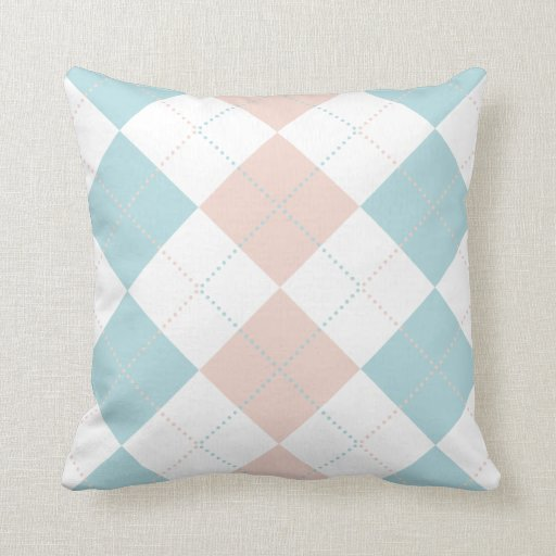 Pastel Blue and Pink Checker Patterns Throw Pillow