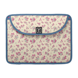 Pastel Blue and Pink Vintage Floral Sleeve For MacBook Pro