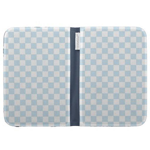 Pastel Blue and White Checkerboard Kindle Folio Case