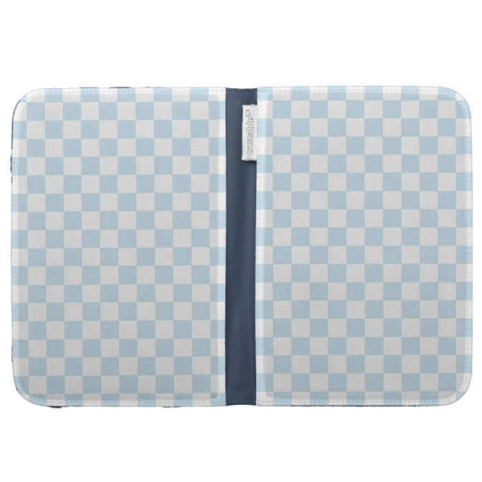 Pastel Blue and White Checkerboard Cases For Kindle
