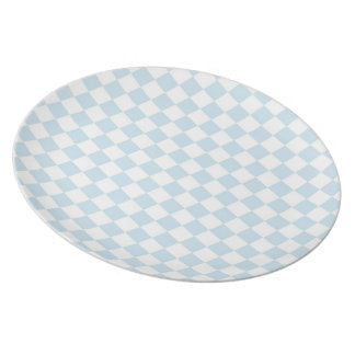 Pastel Blue and White Checkerboard Dinner Plate