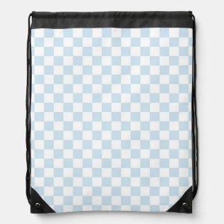 Pastel Blue and White Checkerboard Drawstring Bag