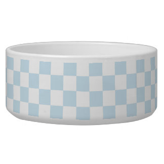 Pastel Blue and White Checkerboard Pet Food Bowl