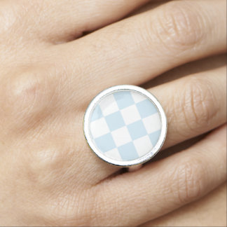 Pastel Blue and White Checkerboard Photo Rings