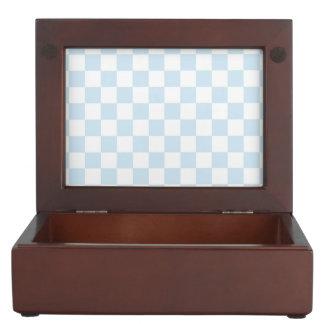 Pastel Blue and White Checkerboard Keepsake Box
