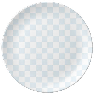 Pastel Blue and White Checkerboard Plate