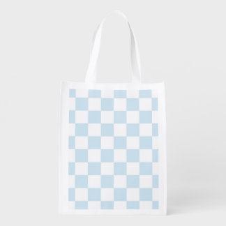 Pastel Blue and White Checkerboard Reusable Grocery Bag