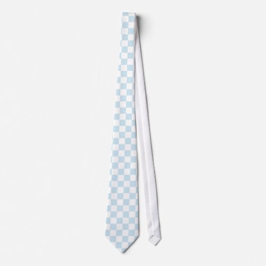 Pastel Blue and White Checkerboard Tie