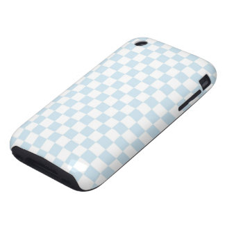 Pastel Blue and White Checkerboard Tough iPhone 3 Case