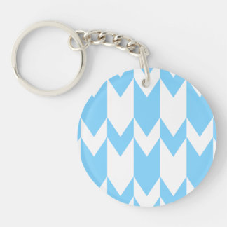 Pastel Blue and White Chevron Pattern. Double-Sided Round Acrylic Keychain