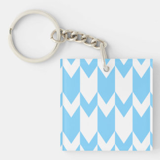 Pastel Blue and White Chevron Pattern. Single-Sided Square Acrylic Keychain