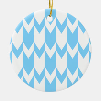 Pastel Blue and White Chevron Pattern Christmas Tree Ornament