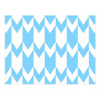 Pastel Blue and White Chevron Pattern. Postcard