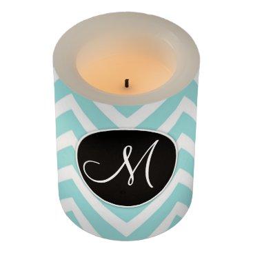 partridgelanestudio Pastel Blue and White Chevron With Custom Monogram Flameless Candle